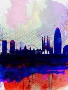 Barcelona Watercolor Skyline 2