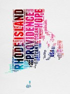 Rhode Island Watercolor Word Cloud