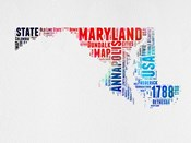 Maryland Watercolor Word Cloud
