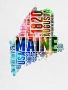 Maine Watercolor Word Cloud