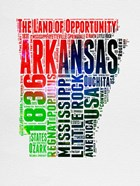 Arkansas Watercolor Word Cloud