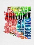 Arizona Watercolor Word Cloud