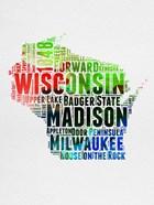 Wisconsin Watercolor Word Cloud
