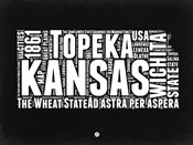 Kansas Black and White Map