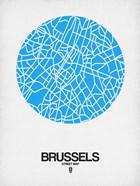 Brussels Street Map Blue