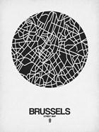 Brussels Street Map Black on White