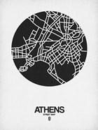 Athens Street Map Black on White