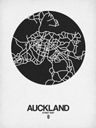 Auckland Street Map Black on White