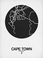 Cape Town Street Map Black on White
