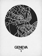 Geneva Street Map Black on White
