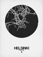Helsinki Street Map Black on White