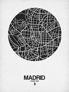 Madrid Street Map Black on White