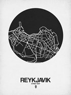 Reykjavik Street Map Black on White