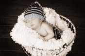 Baby in Wire Basket
