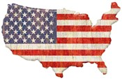 American Flag Continent Cut Out