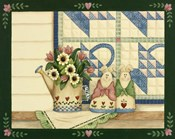 Bunnies, Watering Can With Quils