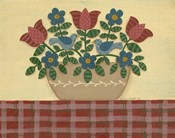 Red & Blue Flowers With Red Tablecloth