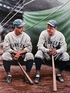 Babe Ruth and Lou Gehrig (seated)