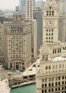 Clock tower along a river, Wrigley Building, Chicago River, Chicago, Illinois, USA