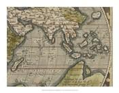 Antique World Map Grid VI