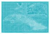 Map of Cuba in Aqua
