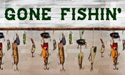 Gone Fishin' Wood Fishing Lure Sign