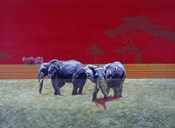 Elephants With Red Sky
