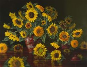 Sunflowers with Two Crimson Vases