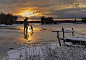 Hunter In Snowy Lake