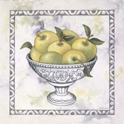 Green Apples In A Silver Bowl