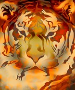 Fiery Colored Tiger Head
