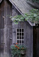 White Window on an Old Wooden House