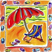 Beach Chair, Umbrella, Flip Flops