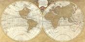 Gilded World Hemispheres I