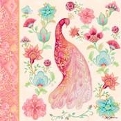 Pink Medallion Peacock I