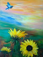 BlueBird Flying Over Sunflowers
