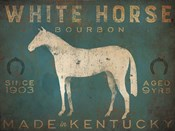 White Horse with Words Blue