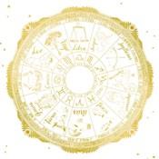 Night Sky Zodiac White and Gold