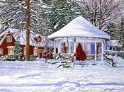 Gazebo At Ellicottville, Winter