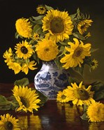 Sunflowers in Blue & White Chinese Vase