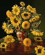Sunflowers in a Crimson Vase