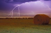 Lightning Over Hay Fields