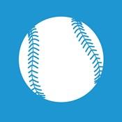 White Softball on Blue