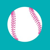White Softball on Teal