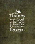 Psalm 136:26, Give Thanks (Olive Border)