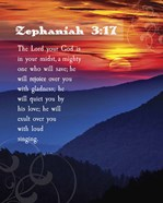 Zephaniah 3:17 The Lord Your God ( Mountains with Motif)