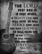 Zephaniah 3:17 The Lord Your God (Guitar Black & White)