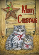 Cats in Barn - Merry Christmas