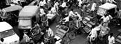 High angle view of traffic on the street, Old Delhi, Delhi, India BW