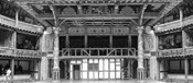 Interiors of a stage theater, Globe Theatre, London, England BW